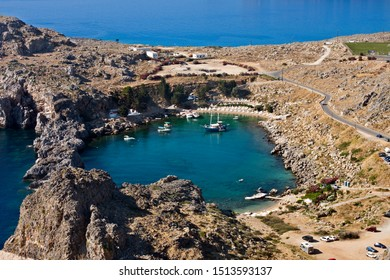 Aerial view on the beatiful Saint Paul's Bay in Lindos, rhodes, Greece