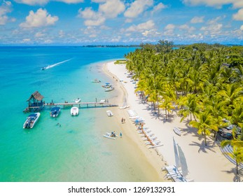 Aerial view on beautiful beach in Trou aux Biches, Mauritius.