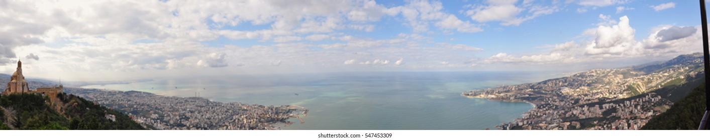 Aerial view on beautiful coast line of Mediterranean sea in Lebanon Jouhieh City