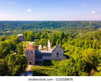 Aerial view on beautiful famous new castle in Sigulda, Latvia