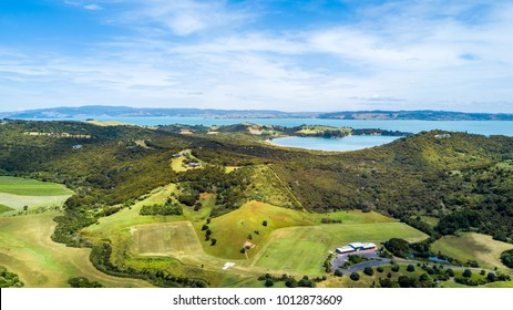 Aerial view on a beautiful hill side with sunny harbour on the background. Waiheke Island, Auckland, New Zealand.