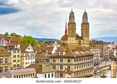 The Aerial view on beautiful river Limmat and city center of Zurich, Switzerland
