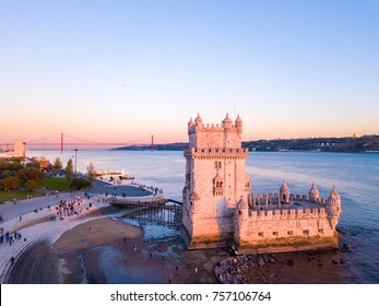 Aerial view on the Belem tower during sunset in Lisbon, Portugal. Amazing Lisboa scene.