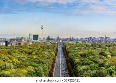 aerial view on Berlin Skyline with tv-tower and Brandenburger Tor seen from Tiergarten
