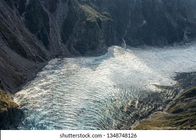 Aerial view on big Franz Joseph glacier in New Zealand