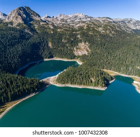 Aerial view on Black lake in National park Durmitor. Montenegro.