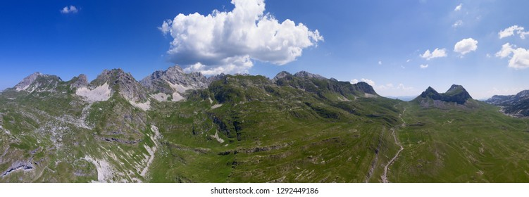 Aerial view on Bobotov Kuk and other mountains in the park Durmitor, Montenegro, panorama