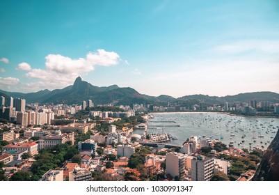 aerial view on Botafogo Bay of rio de Janeiro