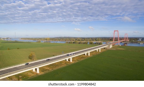 Aerial view on the brdige crossing the Rhine close to Emmerich. This bridge is the largest Suspension bridge of Germany.