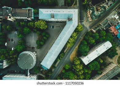 Aerial view on building, natural shape of number seven, natural shapes, building architecture. Building rooftops