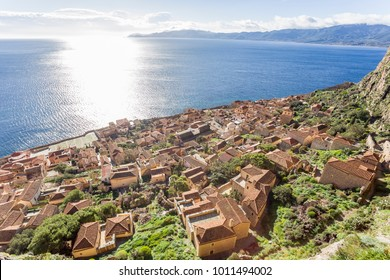 aerial view on Byzantine town of Monemvasia, Greece