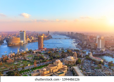 Aerial view on Cairo at sunset, panorama from the Tower