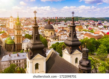 Aerial view on Carmelite Church ( Michael the Archangel church) in Lviv, Ukraine from drone