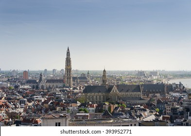 Aerial view on the Cathedral of Our Lady and the Church of Saint Paul in Antwerp, Belgium. viewed from Museum aan de Stroom