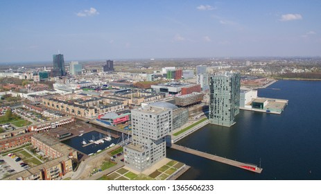 Aerial view on the center of Almere, Netherlands