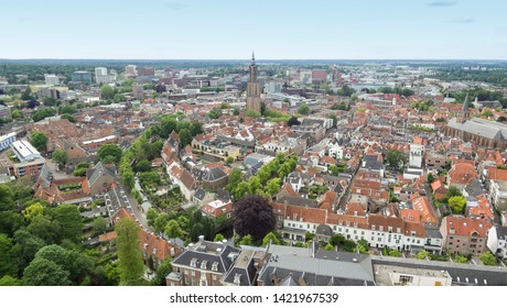 Aerial view on the center of Amersfoort, Netherlands