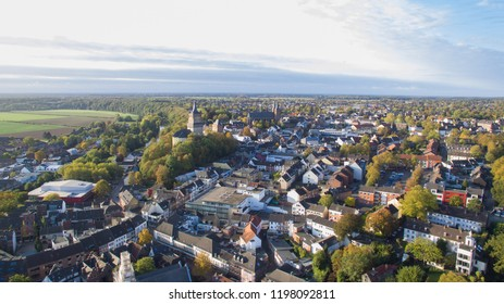 Aerial view on the center of Cleves, Germany