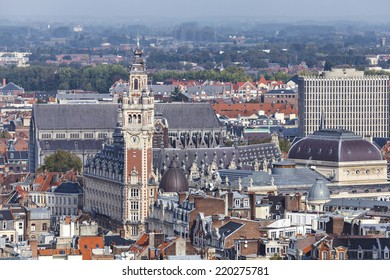Aerial view on the center of Lille with Chamber of commerce building on the main point