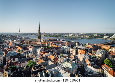 Aerial view on city, building rooftops from drone point of view, Riga old town from above