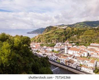 Aerial view on city Mosterios on island Sao Miguel, the Azores. Beautiful small town in Portugal. Azores islands.