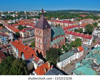 Aerial view on city, old town, city center, green city, cathedral.