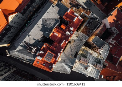 Aerial view on city rooftops in sunrise time, old town of Riga from above