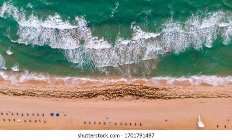 Aerial view on coast line, Atlantic ocean waves and public beach at Florida, United States. Drone Beach Landscape.
