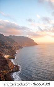 Aerial view on coastline near Santa Cruz de Tenerife in Anaga park on Canary island