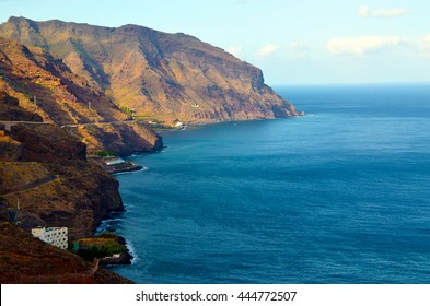 Aerial view on coastline near Santa Cruz de Tenerife in Punta de los Organos, San Andres, Tenerife,Canary Islands,Spain.
