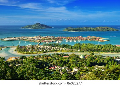 Aerial view on the coastline of the Seychelles Islands and luxury Eden Island from Victoria viewpoint, Mahe