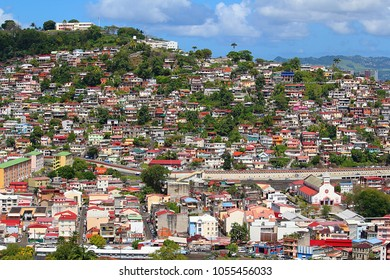 Aerial view on the colorful Caribbean city of Fort de France, Martinique