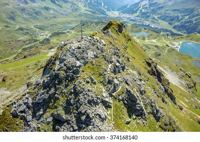 Aerial view on the cross on the top of the peak Austria