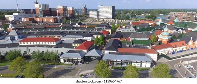 Aerial view on the designers outlet store in Roermond. The largest outlet center in the Netherlands