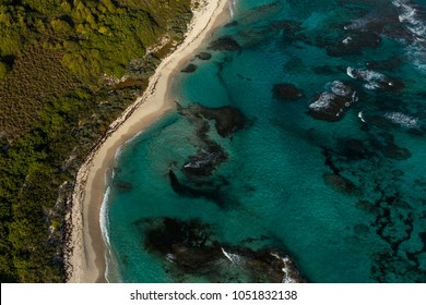 Aerial view on Desirade island nearby the french island of Guadeloupe