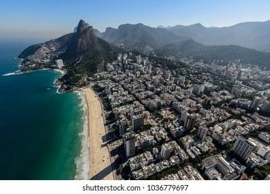 Aerial view on the district of Ipanema and Leblon in Rio de Janeiro Brazil, summer 2015