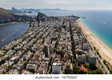 Aerial view on the district of Ipanema in Rio de Janeiro Brazil, summer 2015
