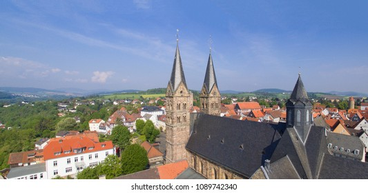 Aerial view on the Dom Saint Peter in Fritzlar, Germany