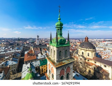 Aerial view on Dominican Church and Dormition Church in Lviv, Ukraine from drone