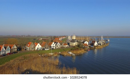 Aerial view on Durgerdam. This small former fishing village is part of Amsterdam.