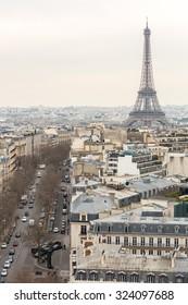 Aerial View on Eiffel Tower, Paris, France