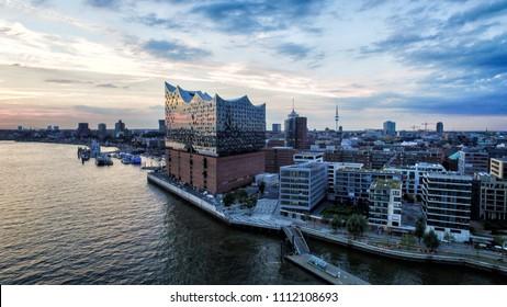 Aerial View on Elbphilharmonie in Hamburg