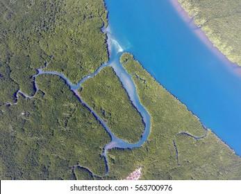 Aerial view on estuaries and strait on Ko Lanta island, Thailand