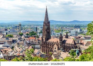 Aerial view on Freiburger Munster (Münster) Cathedral church. Freiburg im Breisgau, Baden-Wurttemberg, Germany.