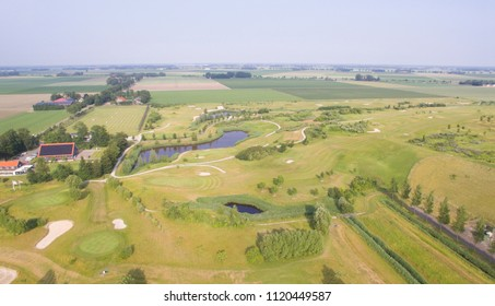 Aerial view on a Golf course in Emmeloord, Netherlands