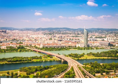 Aerial view on highway through Danube river. Vienna, Austria.