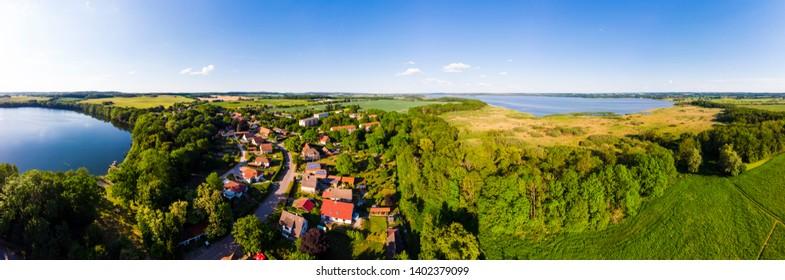 Aerial view on Hotel Seeschloss Schorssow am Haussee, Schorssow, Mueritz, Mecklenburgische Schweiz, Mecklenburg-Vorpommern, Germany