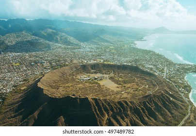 Aerial view on a huge crater - view from above on Hawaii island, Oahu, USA.
