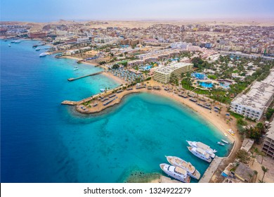 An aerial view on Hurghada town located on the Red Sea coast, Egypt.