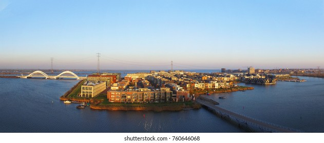Aerial view on IJburg, Amsterdam