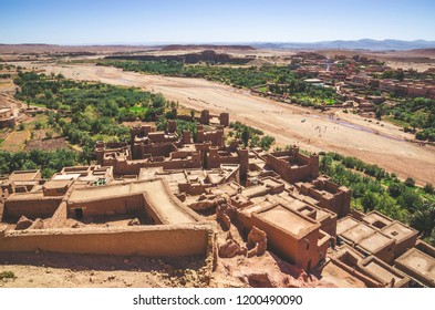 Aerial view on Kasbah Ait Ben Haddou and desert near Atlas Mountains near Kasbah Ait Ben Haddou, Morocco